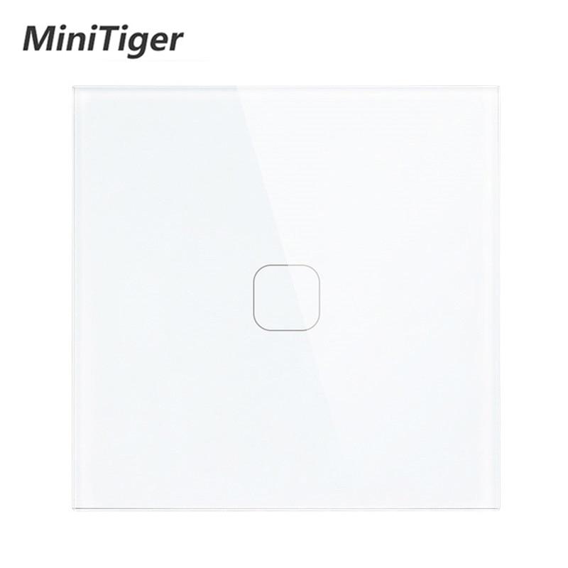 Minitiger Luxury Wall Touch Sensor Switch EU/UK Standard Light Gray Crystal Glass Touch Switch Power 1/2/3 Gang 1 Way AC 220 3