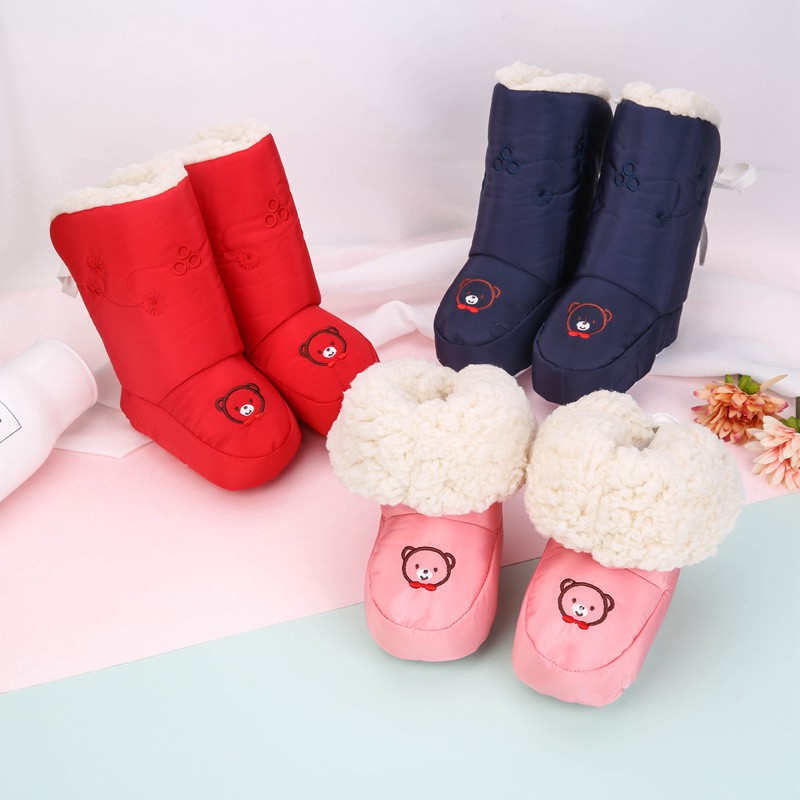 Baby Winter Boots Foldable Toddler Newborn Bear Shoes Girls Boys First Walkers Waterproof Snow Boot 0-12M