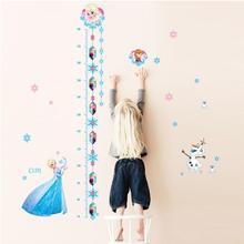 Дисней Мультфильм Эльза Анна Принцесса измерения высоты наклейки домашний декор гостиной Дисней замороженные роста диаграммы настенные наклейки