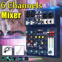6 Channel bluetooth Digital Microphone Sound Mixer with USB DJ Sound Mixing Console 48V Amplifier For Karaoke KTV Match Party