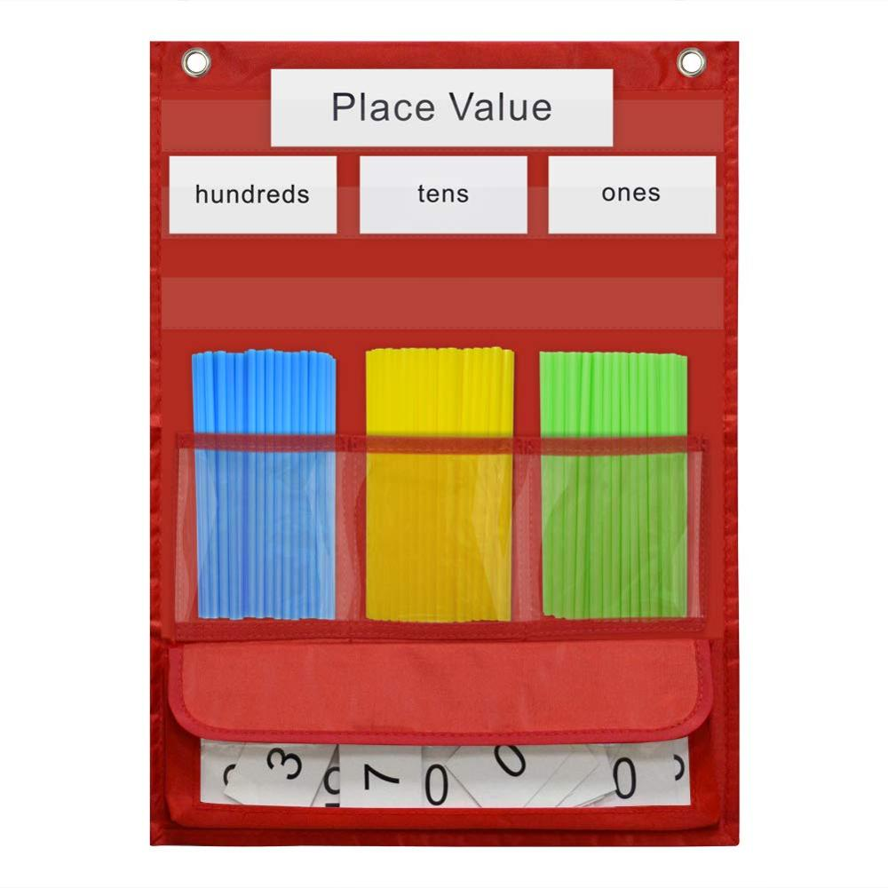Godery Counting Caddie And Place Value Pocket Chart For Classroom Home Let's Count, Red