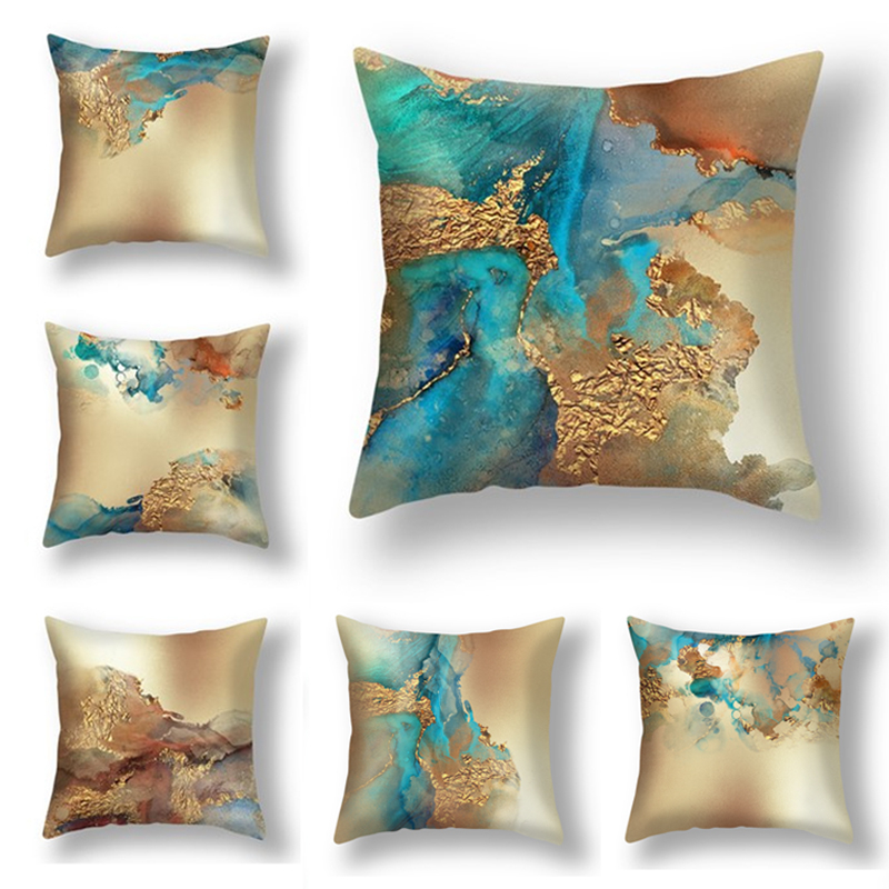 Abstract Printing Gold Cushion Cover Home Decor Sofa Seat Chair Back Pillow Case Soft Cozy Polyester 45x45cm Pillowcase