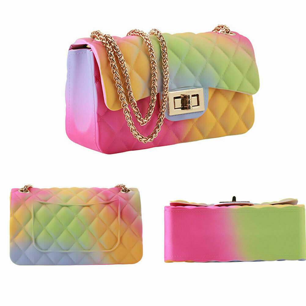2020 Fashion Ladies Jelly Chain Bag Women's Rainbow PVC Bag Shoulder Bag Handbag Messenger Crossbody Bags
