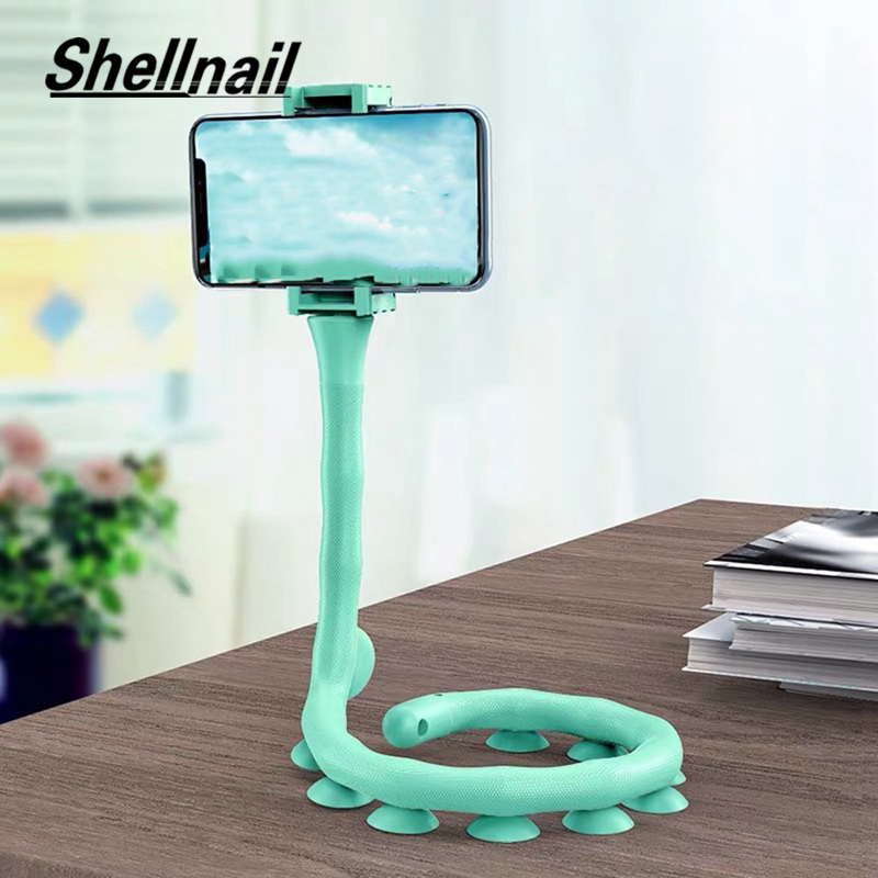 SHELLNAIL Cute Caterpillar Lazy Bracket Mobile Phone Holder Worm Flexible Phone Suction Cup Stand For Home Wall Desktop Bicycle