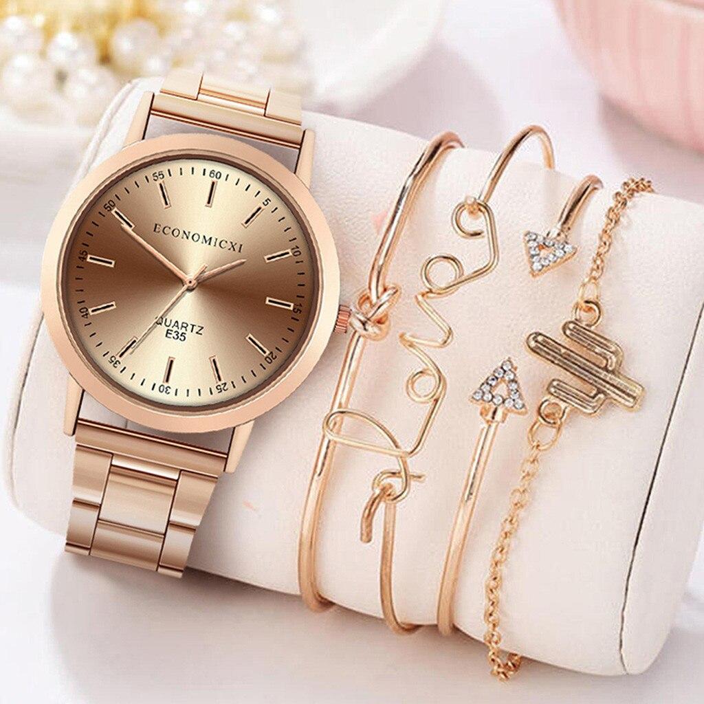Women Watch Fashion Style 5pcs/set Magnetic Ladies Watch Dress Simple Watch Bracelet Set Women Zegarek Damski Reloj Часы Женские