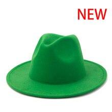 Fedora chapeau femmes hommes solide classique simple large bord feutre chapeaux vintage noir blanc vert mariage formel église hiver femmes chapeaux