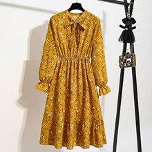 Maxi Dress Long-Sleeve Chiffon Vintage Boho Party Floral-Printing Elegant 40 Women A-Line