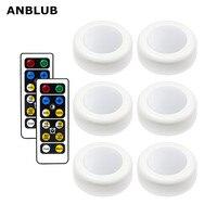 ANBLUB disco de luz LED inalámbrico con Control remoto bajo la iluminación del armario luz del armario para la cocina armario de pared luces adhesivas