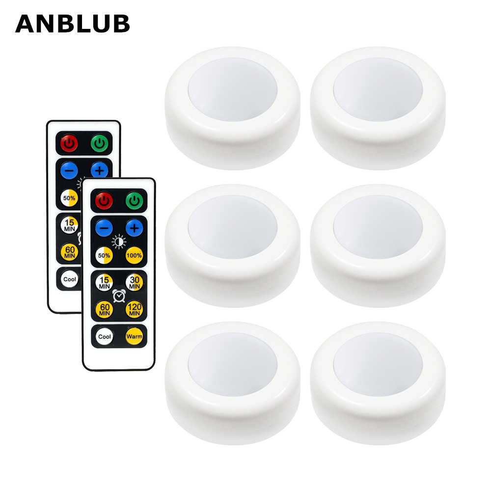 ANBLUB Wireless LED Puck Light With Remote Control Under Cabinet Lighting Closet Light For Kitchen Wall Wardrobe Stick On Lights