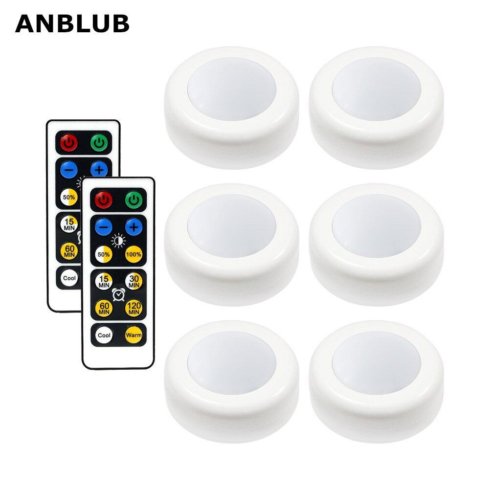 ANBLUB inalámbrico disco de luz LED con Control remoto de bajo de iluminación de la luz del armario de cocina armario de pared con las luces