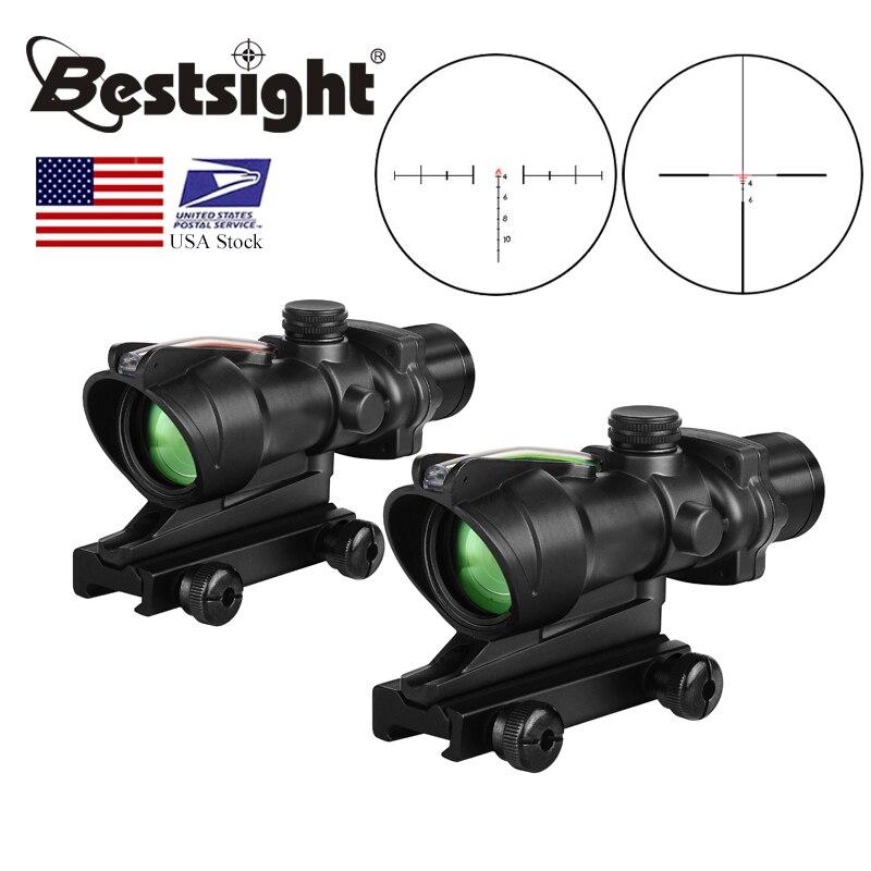 ACOG 4X32 Real Fiber Optics Red Dot Illuminated Chevron Glass Etched Reticle Tactical Optical Sight Hunting AR15 Riflescope(China)