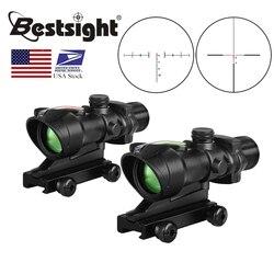 Оптика ACOG 4X32, оптика из настоящего волокна, красная точка, с подсветкой, шеврон, стекло, травление, тактический оптический прицел для охоты ...