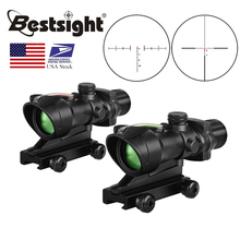 ACOG 4X32 אמיתי סיבי אופטיקה Red Dot מואר שברון זכוכית חרוט Reticle טקטי אופטי Sight ציד AR15 Riflescope