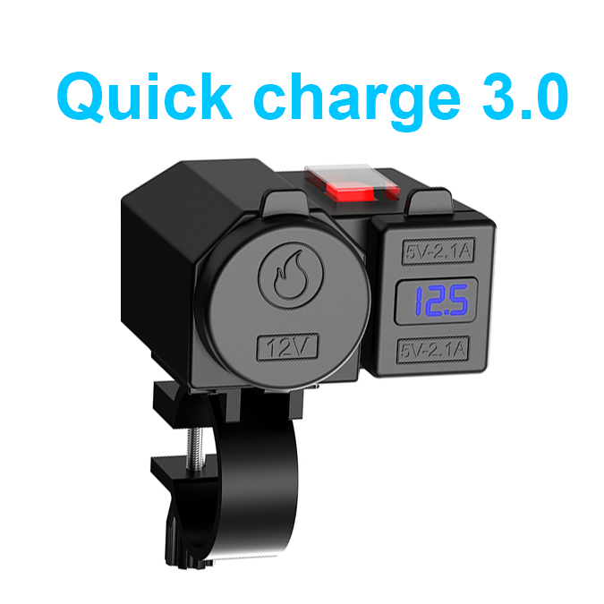 12V Motorcycle Motorbike Handlebar Charger Dual USB Port 5V 2.1 A+2.1A Adapter Power Supply Socket Waterproof For Phone Mobile