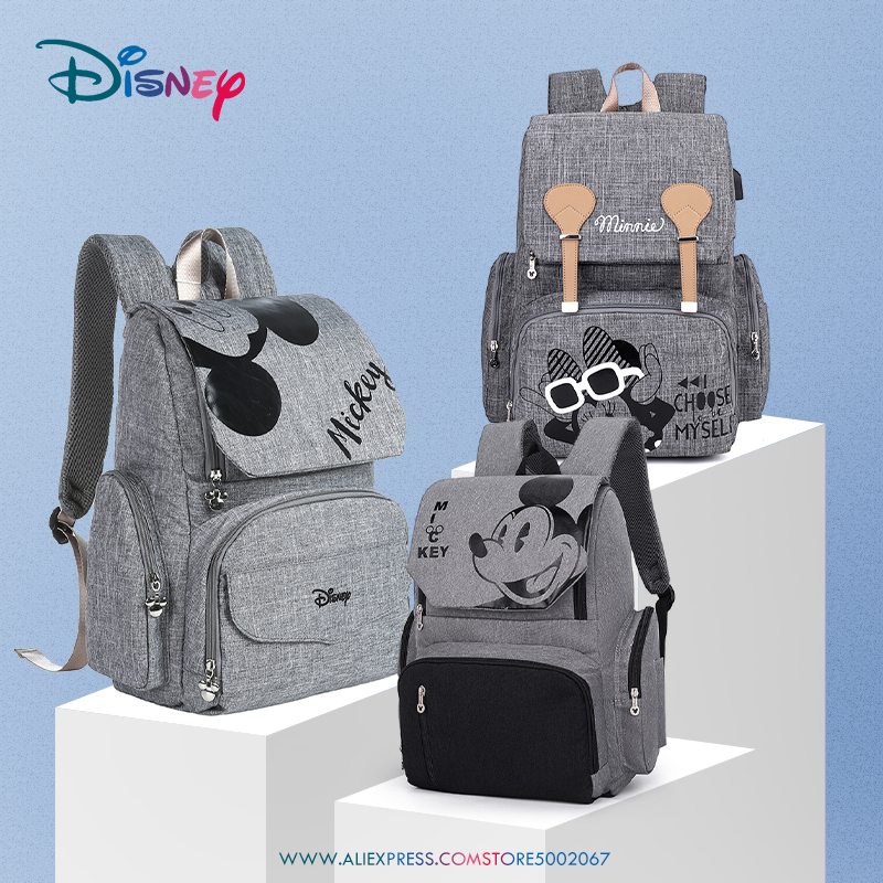 Disney Pre-design Cartoon Baby Diaper Bag Waterproof Baby Bag Organizer Nappy Maternity Bag For Stroller Mom Travel Free Hooks