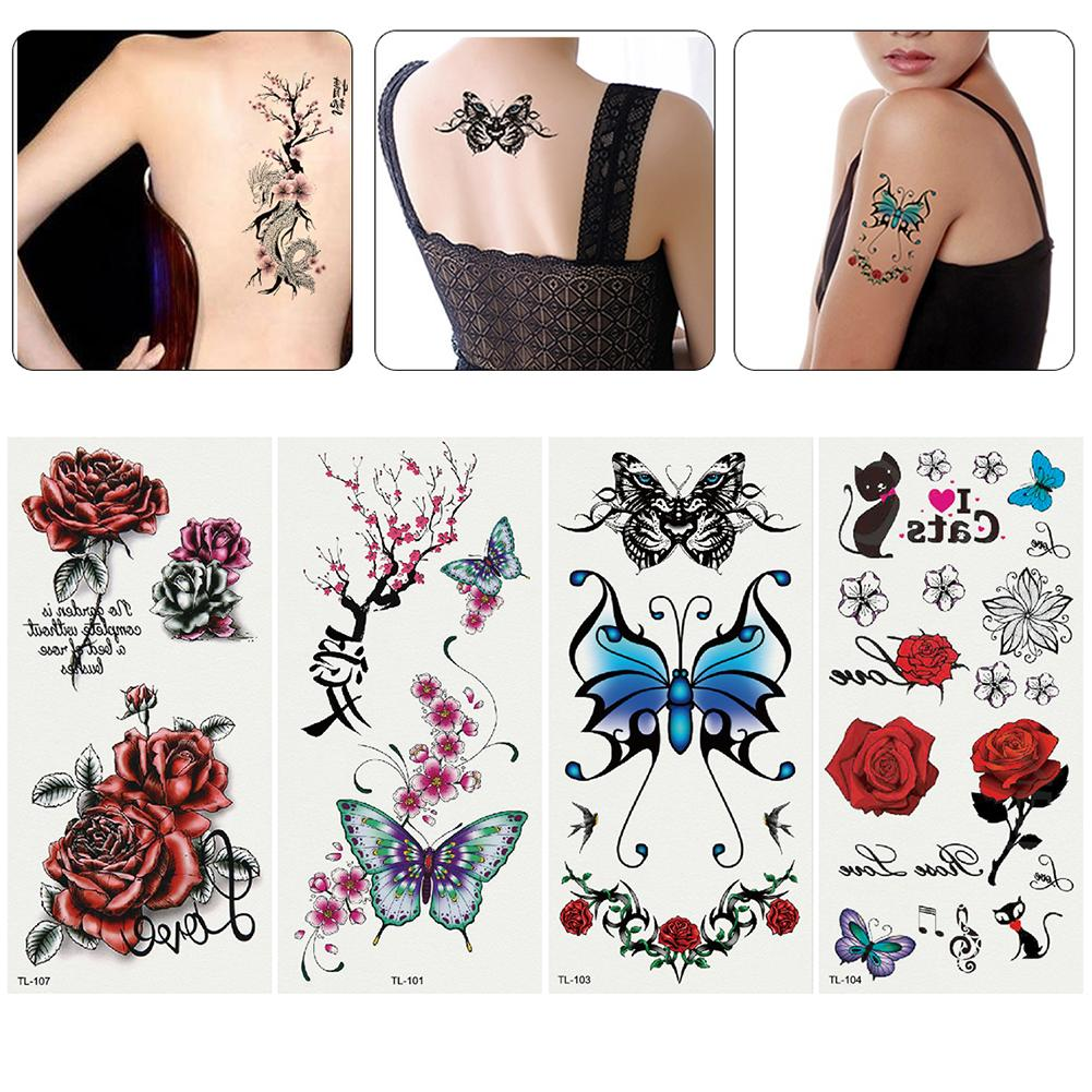Sheets Women Girl Sexy Flower Water Transfer Temporary Tattoo