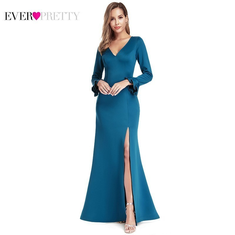 Ever Pretty Sexy Teal Bridesmaid Dresses V-Neck Side Split Dress For Wedding Party Litter Mermaid Dresses Vestido Madrinha 2020
