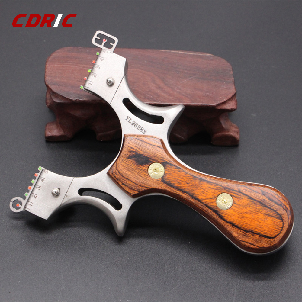 Solid Wood Flat Rubber Band Slingshot High Precision Outdoor Powerful Competition Stainless Steel Slingshot Shooting Hunting Bow