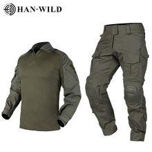 Calças de caça g3 terno tático militar uniforme multicam forças terno camisa combate calças táticas airsoft militaire com almofadas