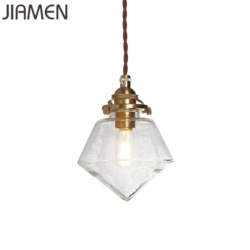 JIAMEN Modern Clear Glass Pendant Lamp Led E14 Bulb Hanging Lights For Kitchen Bedroom Living Room Simple Suspension Luminaire