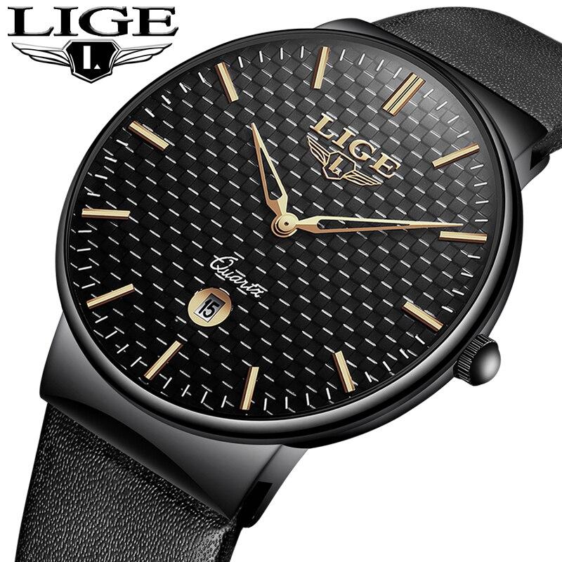 Reloj Hombre LIGE New Leather Watches Mens Waterproof Calendar Watch Top Luxury Brand Military Sport Men Watch Relogio Masculino