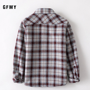 Image 3 - GFMY 2020 summer 100% Cotton Full Sleeve Fashion Plaid Boys  Plus velvet Shirt 3T 12T Casual Big Kid Clothes Can Be a Coat