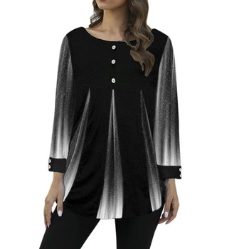 Women's Print Shirts Tops Casual Round Neck Print Loose Long Sleeve Tunic Blouse Top Plus Size Blouses Women Clothing #BL2 1