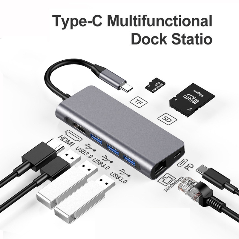 GOESFI Docking Station USB Type C//Thunderbolt 3 to HDMI 4k Gigabit Ethernet RJ45 USB 3.0 A SD//TF Card Reader Multiport Hub for MacBook Pro//AIR 2018 HP Dell Lenovo Thinkpad Huawei Surface Dock