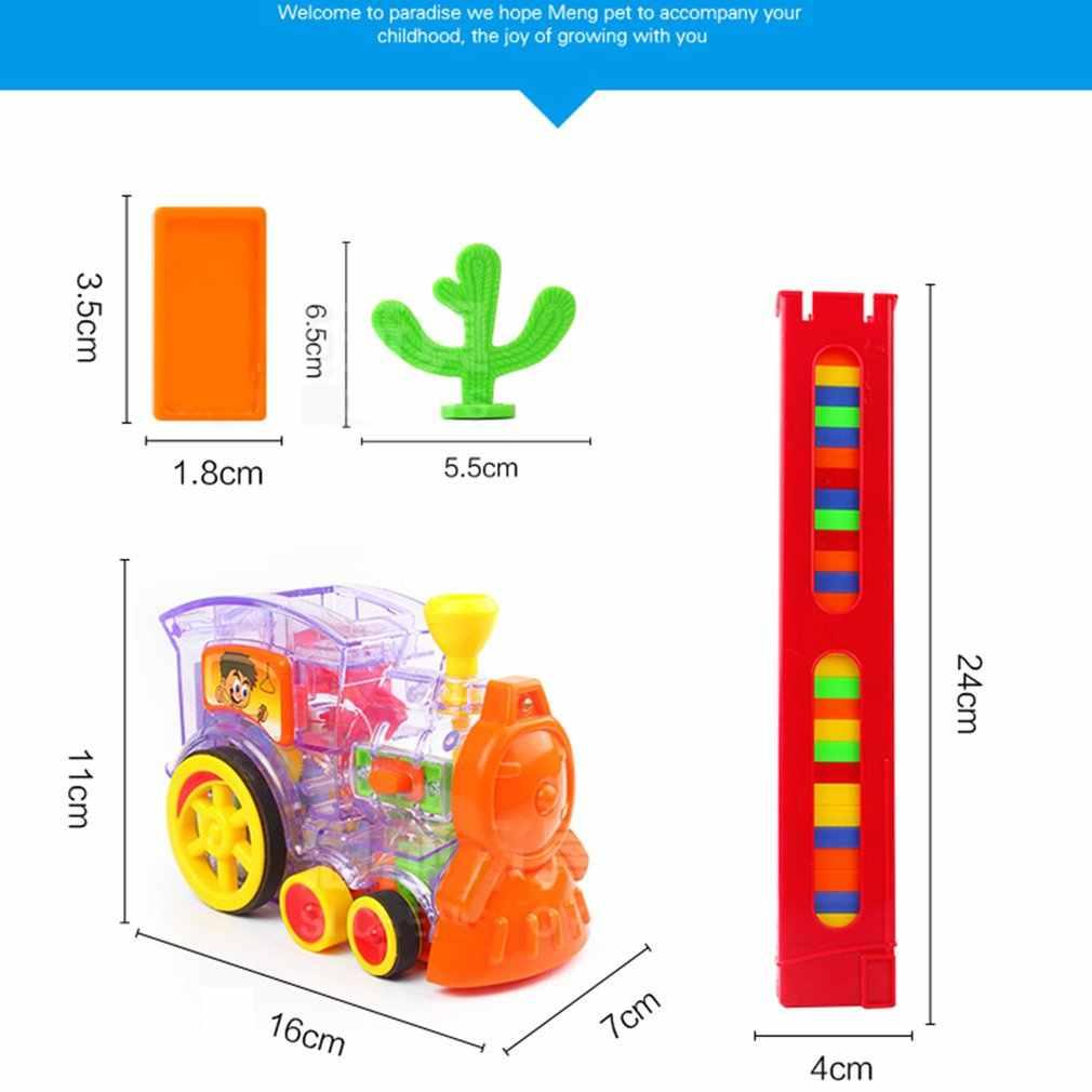 Heißer kinder Domino Zug Auto kit Mit Sound Licht Automatische Emission Set Up Blöcke Aufzug Sprungbrett Brücke Set kinder spielzeug
