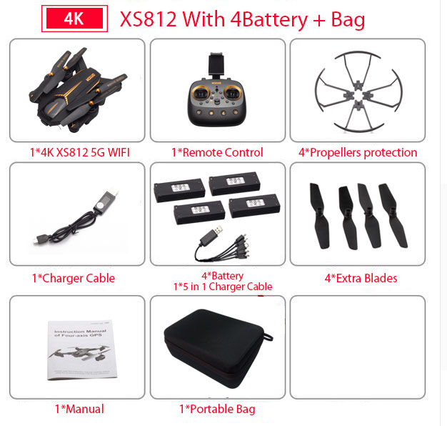 VISUO XS812 GPS RC Drone with 4K HD Camera 5G WIFI FPV Altitude Hold One Key Return RC Quadcopter Helicopter VS XS809S E58 E502S