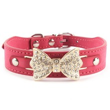Lovely Pet Dog Leather Collar Pup Bling Crystal Gold Bowknot Buckle Choker Limited Special Offer