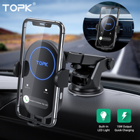 TOPK 15W Wireless Car Charger for iPhone 11 Induction Charger Fast Wireless Charger for Xiaomi Samsung S20 with Car Phone Holder|Wireless Chargers| |  -