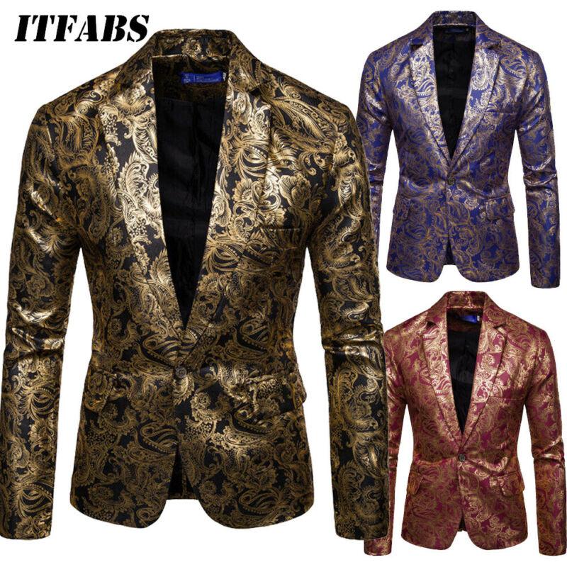 Men Club Wedding Party Tuxedo Dinner Floral Formal Suit Casual Blazer Jacket Coat Gorgeous