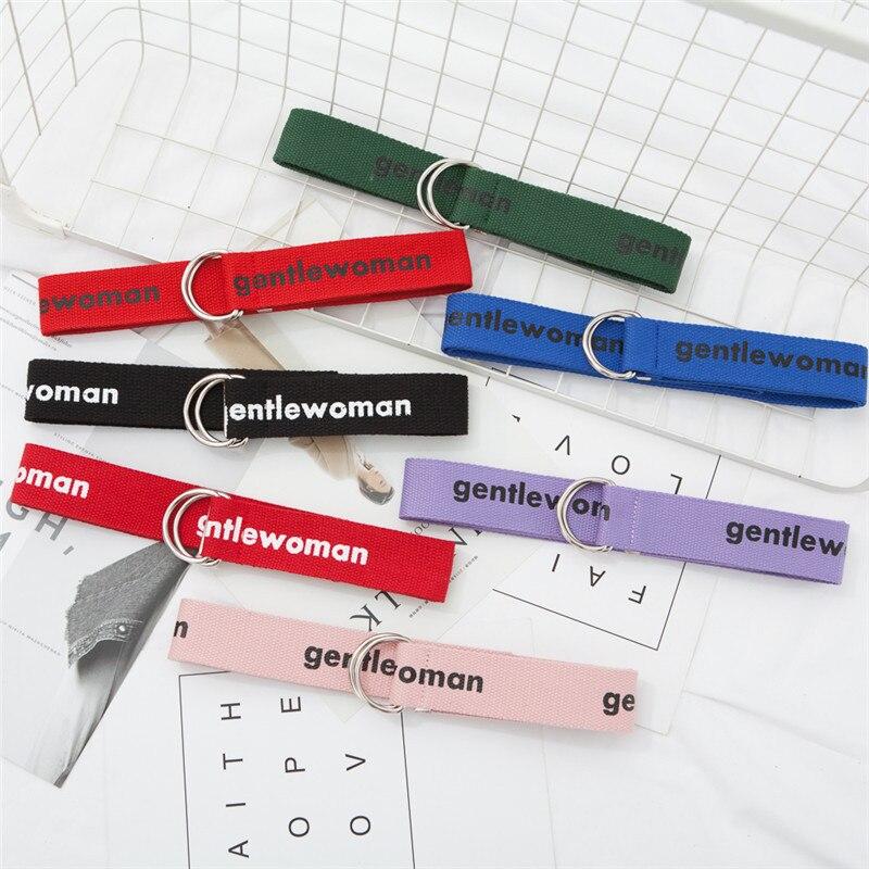 Fashion New Pattern D Ring Buckle Belt Harajuku Zipper All-match Ultra Long Canvas Belt Gentleman Embroidery Belt