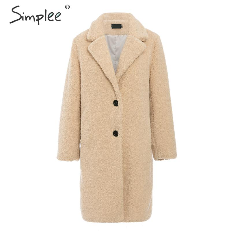 Simplee Elegant Women Faux Fur Coat Autumn Winter Camel Shaggy Warm Female Coat Streetwear Plus Size Office Fur Lamb Overcoat
