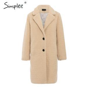 Image 1 - Simplee elegante feminino casaco de pele do falso outono inverno camelo salsicha quente casaco feminino streetwear plus size casaco de pele de escritório cordeiro