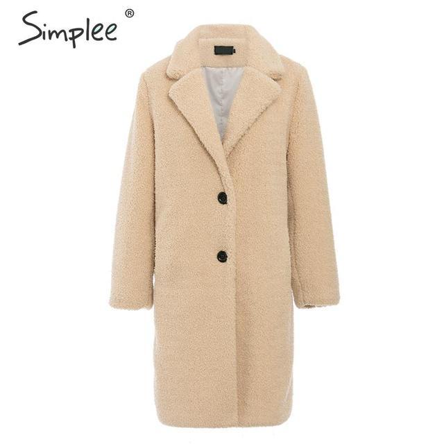 Simplee elegante feminino casaco de pele do falso outono inverno camelo salsicha quente casaco feminino streetwear plus size casaco de pele de escritório cordeiro