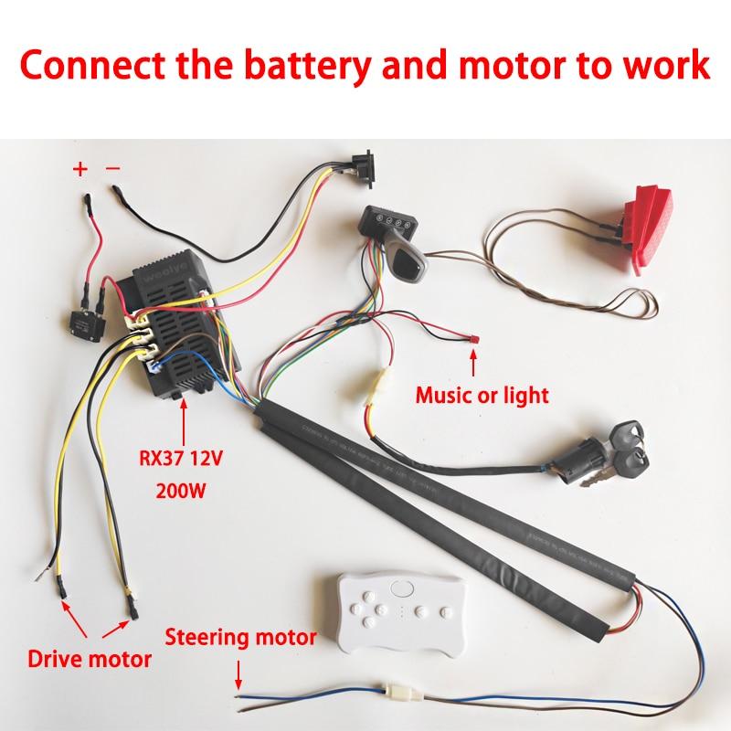 Kinder elektrische auto DIY geändert drähte und schalter kit, mit 2,4G Bluetooth fernbedienung Selbst-made baby elektrische auto 12V6V24V