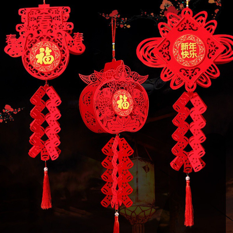 Chinese Red Lanterns Hanging Decorations For Chinese New Year Chinese Spring Festival Wedding Blessing Home Lampion Ornaments