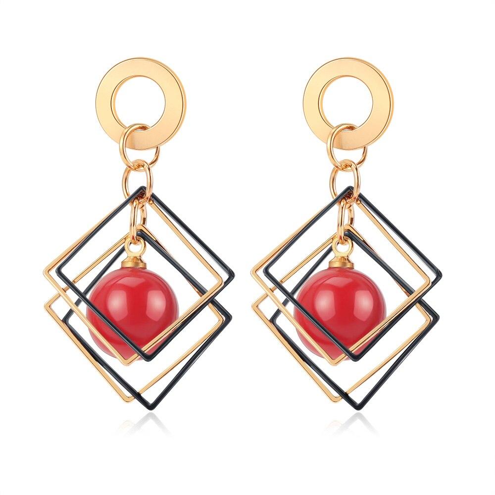 POXAM New Korean Arcylic Statement Earrings for women Red Cute Geometric Dangle Drop Gold Earrings Brincos 2020 Fashion Jewelry