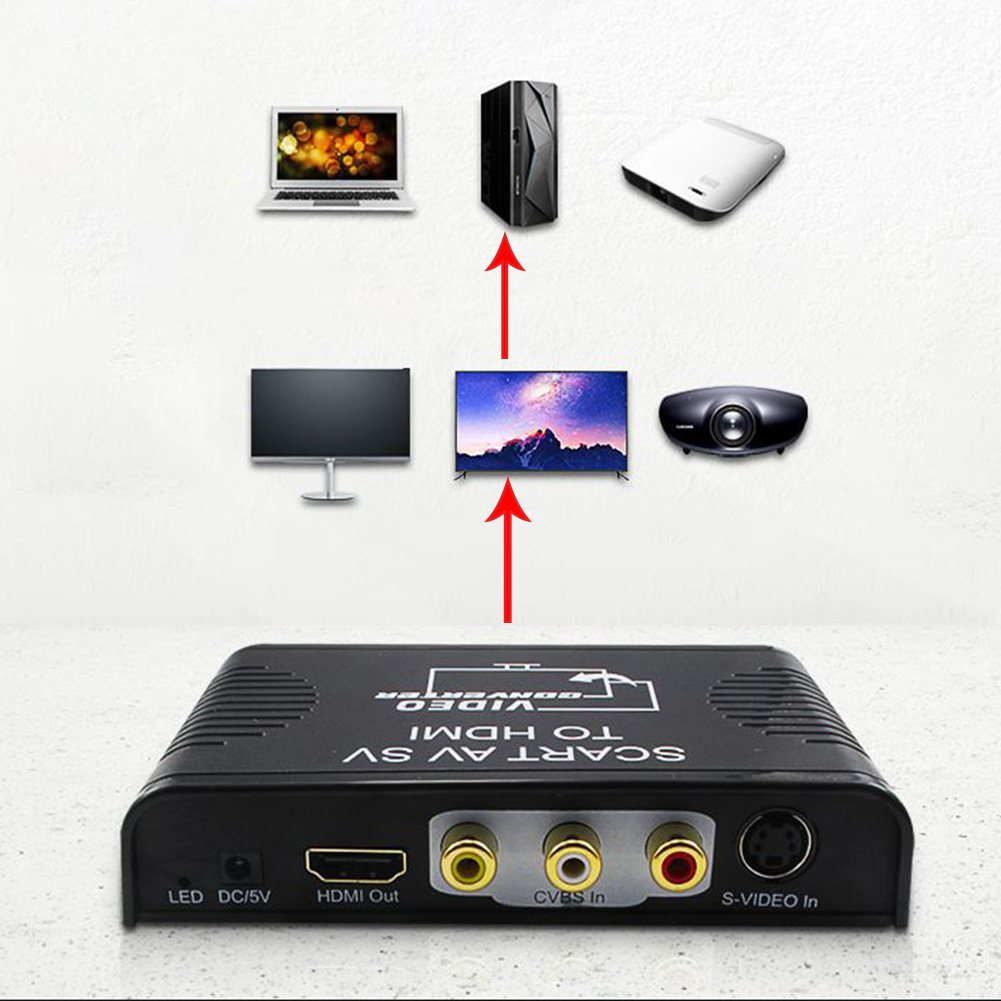 Video Converter Monitor Durable Projector HDTV Mini Audio Adapter Led 3 In 1 SCART To HDMI Digital Full HD 1080P High Definition