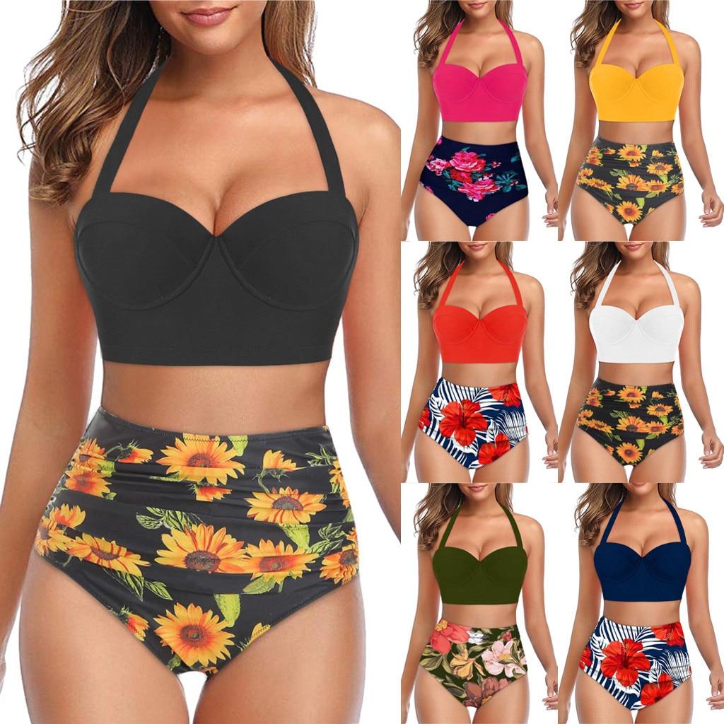 בגדי ים נשים ביקיני 2021 Mujer biquini נשים פרחוני הדפסה גבוהה מותניים יבול צמרות + מכנסיים קצרים בגדי ים הלטר Tankini купальник