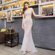 Fashion Sexy Deep V-neck Evening Dresses Charming Perspective Beaded Dress Party Nightclub Mermaid Long