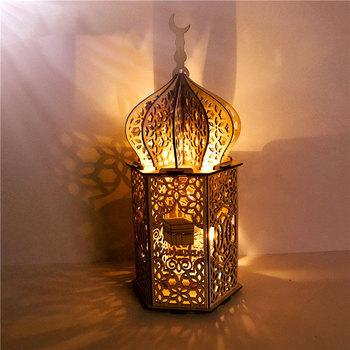 Muzułmański islamski Eid 2021 Party dekoracja na Ramadan drewniane pałac światło Eid Mubarak Party dobrodziejstw drewno Craft Ramadan Kareem Deco tanie i dobre opinie DRANECY Night Light w kształcie słoika CN (pochodzenie) JY04493 Drewna Żarówki LED PRZEŁĄCZNIK 12 v HOLIDAY 0-5 w