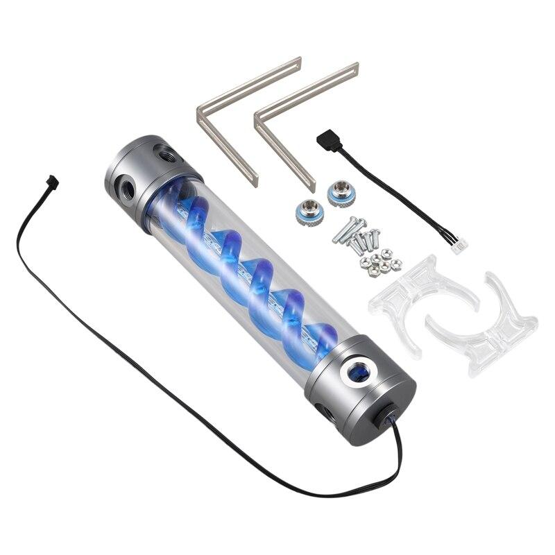 Double hélice T Virus cylindrique réservoir de refroidissement par eau en alliage d'aluminium acrylique pour système de refroidissement par ordinateur