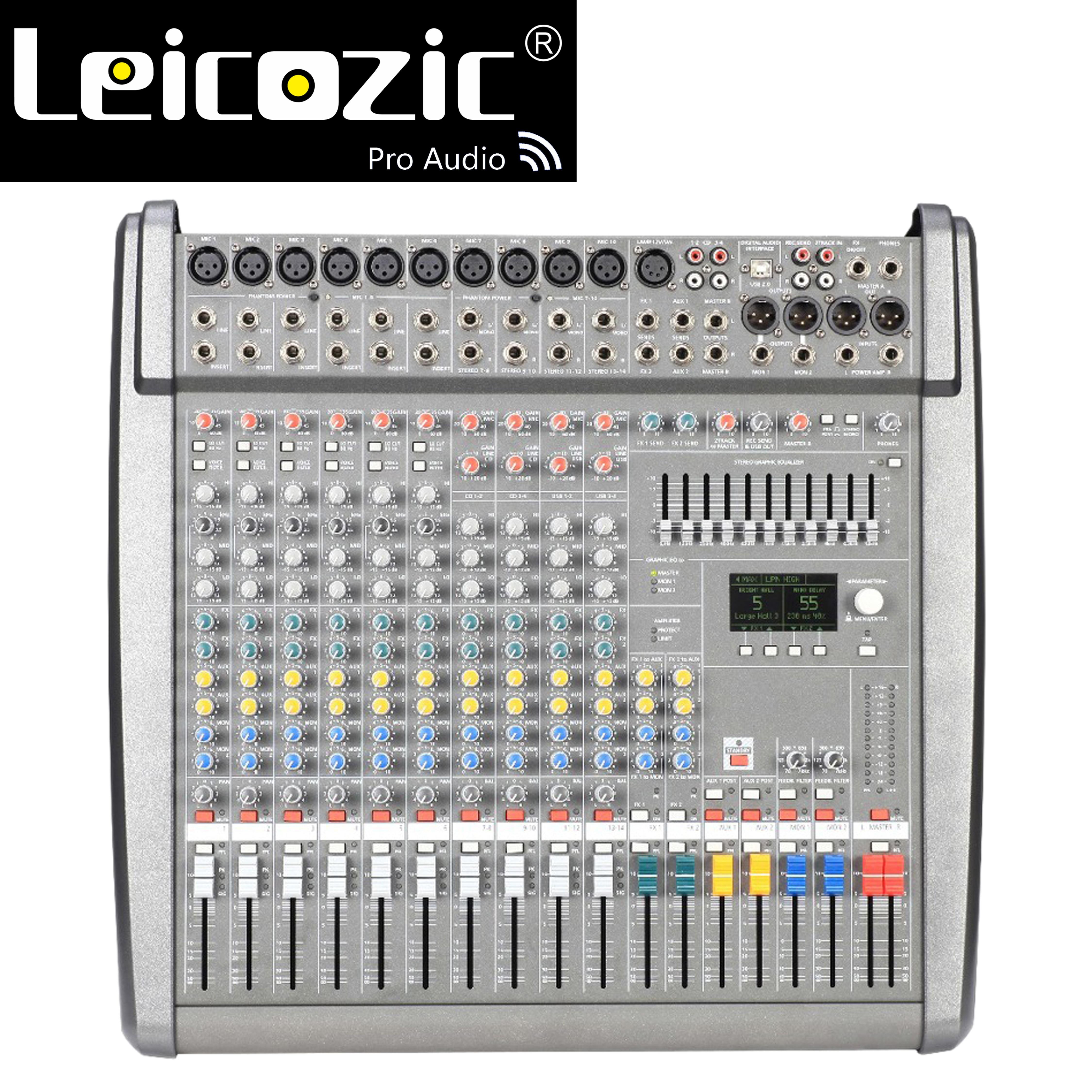Leicozic Neue PM1000-3 / CMS1000-3 Professionelle Powered Mischpult Audio Mixer Verstärker 1300w * 2 Angetrieben Mischer 48V phantom