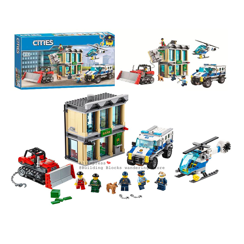 10659 City Police Bulldozer Break-in Bank Building Blocks Set Bricks Toys Compatible Legoinglys City 60140 60138 10656
