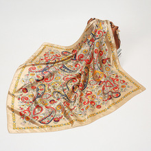 Scarves Silk Shawl Wrap Pareo Hijab Head Muffler Spring Bandanna Square Bohemia-Printed