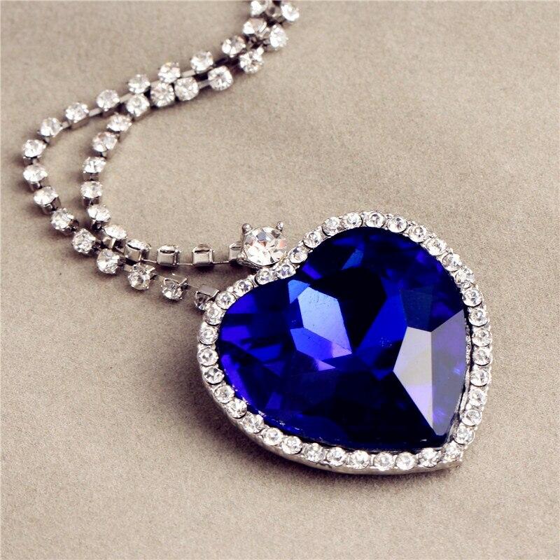 Amor para sempre clássico titanic azul coração pingente colar namorada natal presente de ano novo para meninas e mulheres