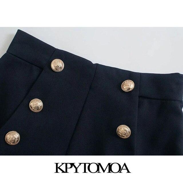 KPYTOMOA Women 2021 Chic Fashion With Metal Buttoned Bermuda Shorts Vintage High Waist Side Zipper Female Short Pants Mujer 4